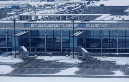 General view shows main terminal of construction site of Berlin Brandenburg international airport Willy Brandt in Schoenefeld