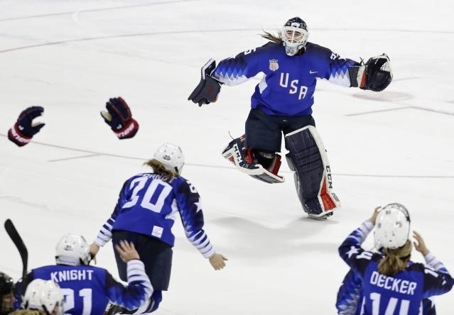 <p>Goalie Madeline Rooney of the U.S. celebrates after making the final save in the shootout. REUTERS/David W Cerny </p>