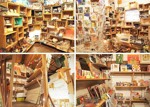 The first thing that catches your eye when you enter the shop is the numerous large and small boxes. The lower row of pictures is of the special corner created on the mezzanine floor for the Japanese illustrator marini * monteany.