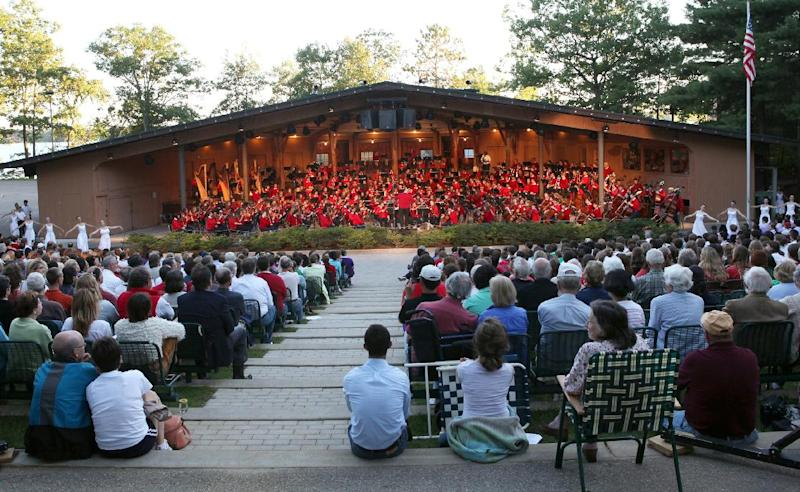 In this undated photo released by Interlochen Center for the Arts, an audience watches a summer orchestra and dance concert at Interlochen Center for the Arts near Traverse City, Mich. Interlochen Center for the Arts is a year-round academy and summer camp for youngsters. You must buy tickets to attend star performances; this year's lineup includes ZZ Top, Josh Groban and Harry Connick Jr. But most of the roughly 400 concerts are free. (AP Photo/Interlochen Center for the Arts)