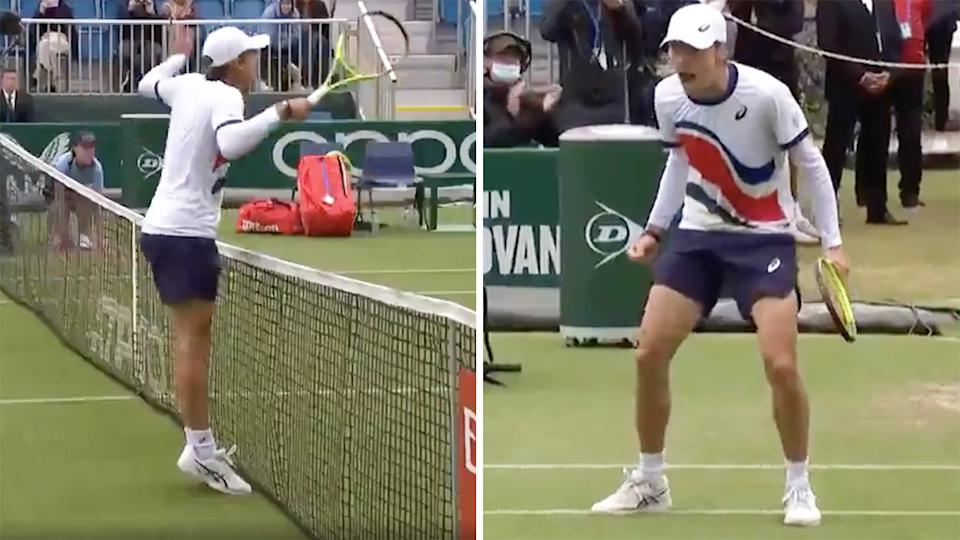 Alex de Minaur almost ran into the net to win a stunning point at Eastbourne.