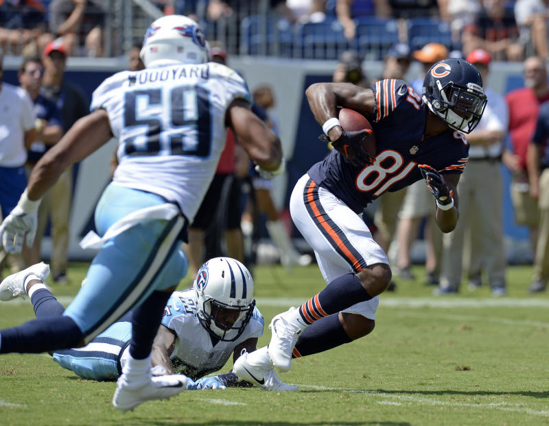 Cameron Meredith (81) was carted off Sunday after suffering a leg injury. (AP)