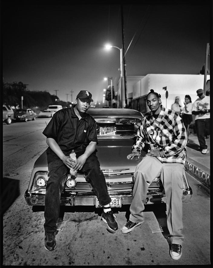 """Dr. Dre, left, and Snoop Dogg, photographed on Aug. 2, 1993, in Compton, for the September 1993 issue of Rolling Stone. <span class=""""copyright"""">(Mark Seliger)</span>"""
