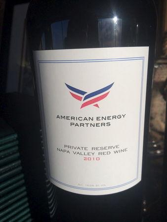 """This bottle of wine bearing a label from Aubrey McClendon's company was served at a business dinner the night he was indicted, March 1, 2016.""""   REUTERS/John Hazelton/ Handout via Reuters"""