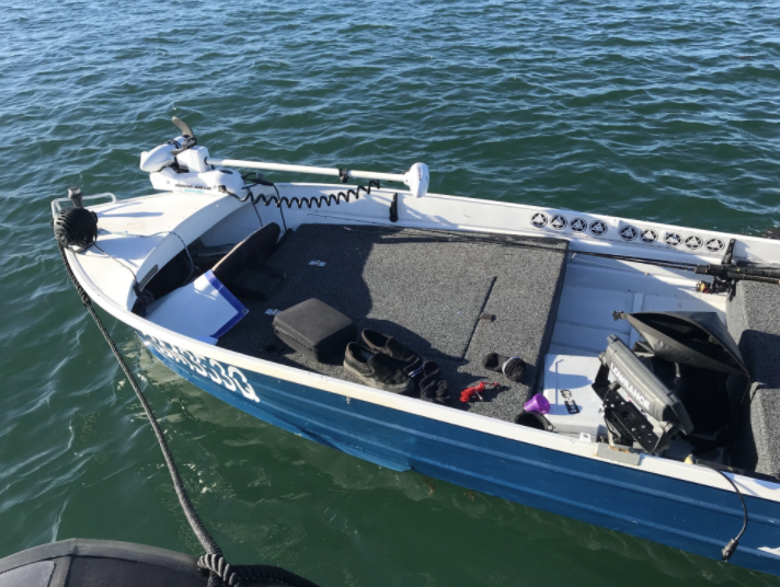 Police were called to Mud Island in Moreton Bay, following reports of an abandoned boat driving uncontrolled. Source: Queensland Police