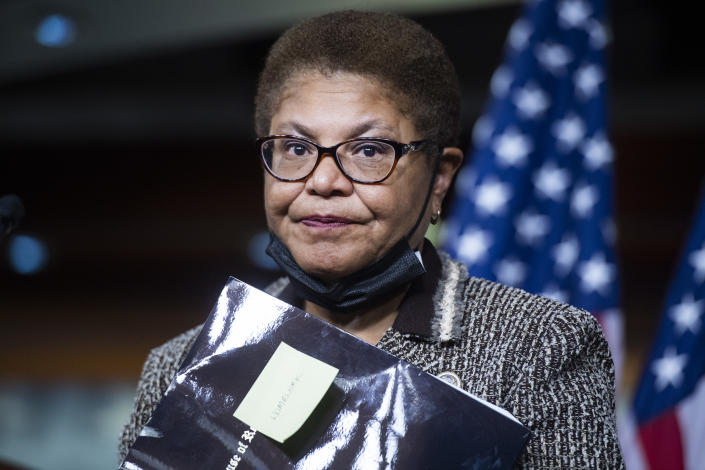 Rep. Karen Bass, D-Calif., chair of the Congressional Black Caucus, conducts a news conference on the Jobs and Justice Act of 2020, which aims to increase the upward social mobility of Black families, and help ensure equal protection under the law, in the Capitol Visitor Center on Wednesday, September 23, 2020. (Tom Williams/CQ-Roll Call, Inc via Getty Images)