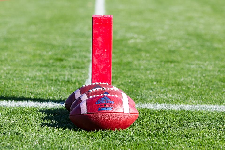 EAST HARTFORD, CT - OCTOBER 21: A general view of the Tulsa Golden Hurricanes practice balls prior to the college football game between Tulsa Golden Hurricanes and UConn Huskies on October 21, 2017, at Rentschler Field in Hartford, CT. (Photo by M. Anthony Nesmith/Icon Sportswire via Getty Images)