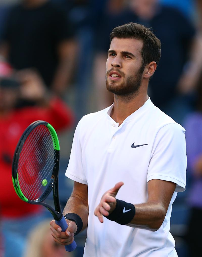 Karen Khachanov on court