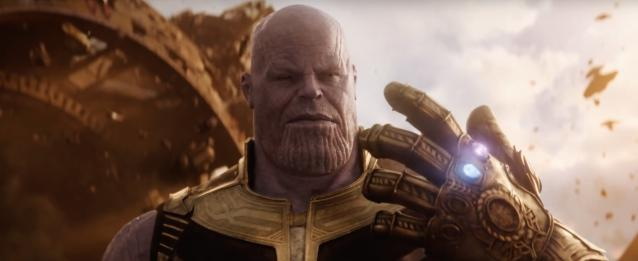 Thanos has two gems in his Infinity Gauntlet. The red represents the Reality Stone, last spotted in the Collector's possession at the end of <em>Thor: The Dark World</em>, while the blue is the Space Stone. <em></em>(Photo: Marvel Studios)