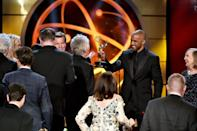 """Shemar Moore presents the outstanding drama aeries award to Mal Young and cast and crew for """"The Young and the Restless"""" at the 46th annual Daytime Emmy Awards."""