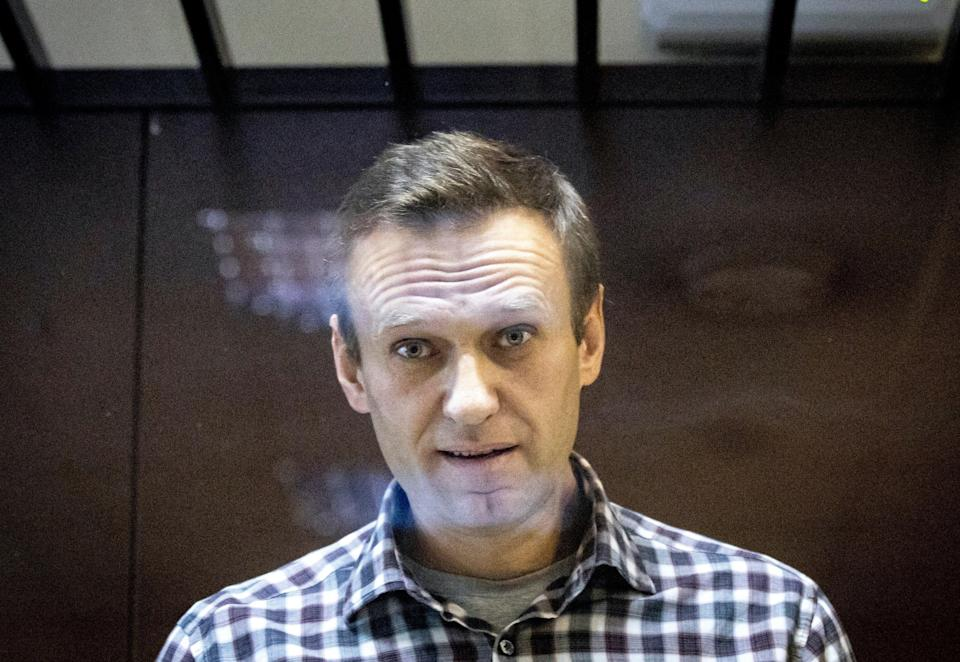 Jailed opposition leader, Alexei Navalny, in  Moscow in February (AP)