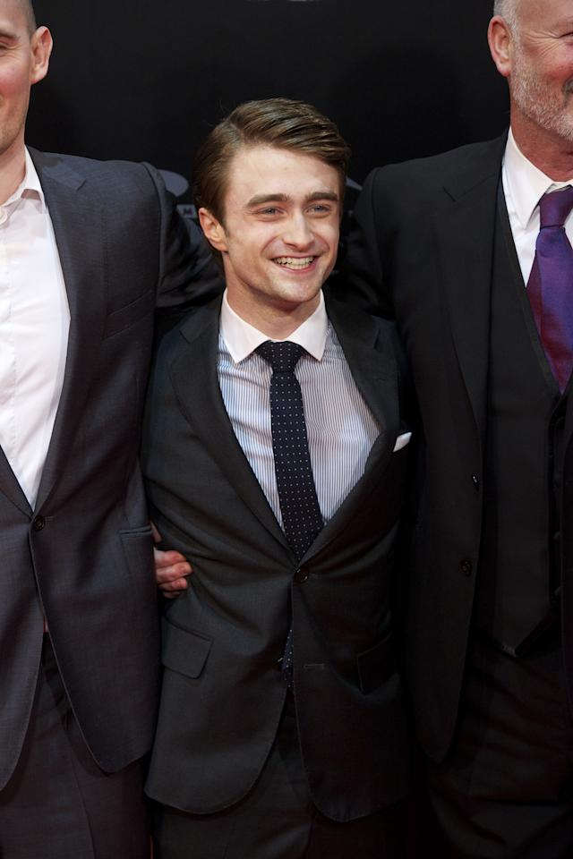 "MADRID, SPAIN - FEBRUARY 14:  Actor Daniel Radcliffe (C) attends ""The Woman in Black"" (La Mujer de Negro) premiere at Callao cinema on February 14, 2012 in Madrid, Spain.  (Photo by Carlos Alvarez/Getty Images)"