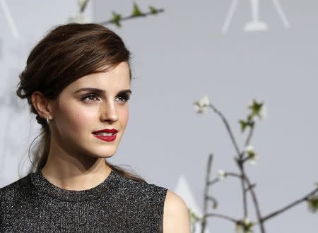 Emma Watson poses at the 86th Academy Awards in Hollywood in this file photo