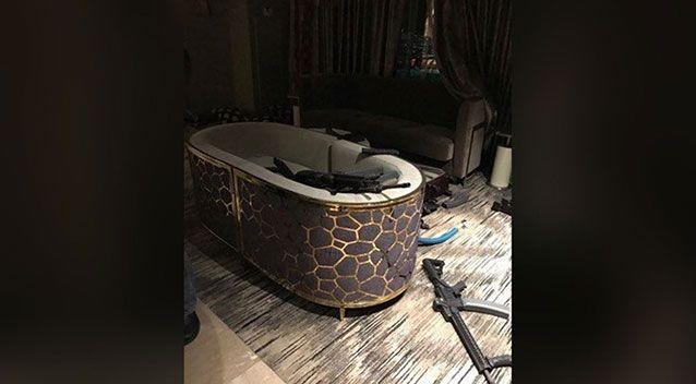 View of Stephen Paddock's room at the Mandalay Hotel showing weapons he may have used during his mass shooting at the Route 91 Harvest country music festival in Las Vegas on Oct 1, 2017. Source: Anonymous via Yahoo US
