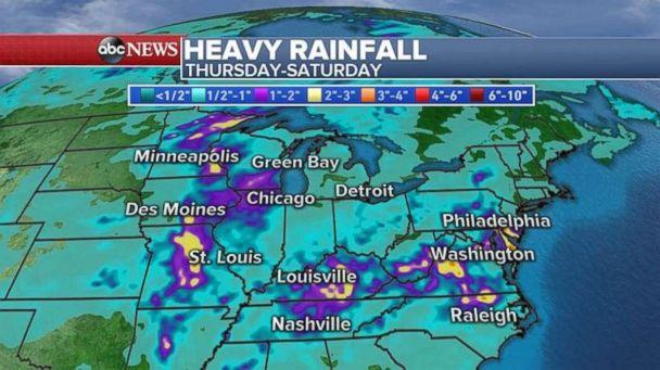 Heavy rainfalls through Saturday are expected for much of the U.S. (ABC News)