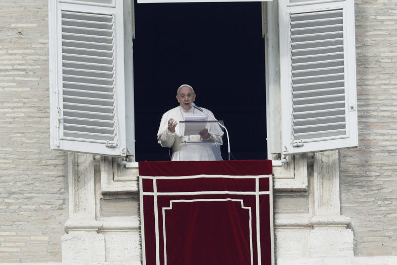 Pope Francis delivers his message during the Angelus noon prayer in St. Peter's Square at the Vatican, Sunday, Feb. 9, 2020. (AP Photo/Gregorio Borgia)