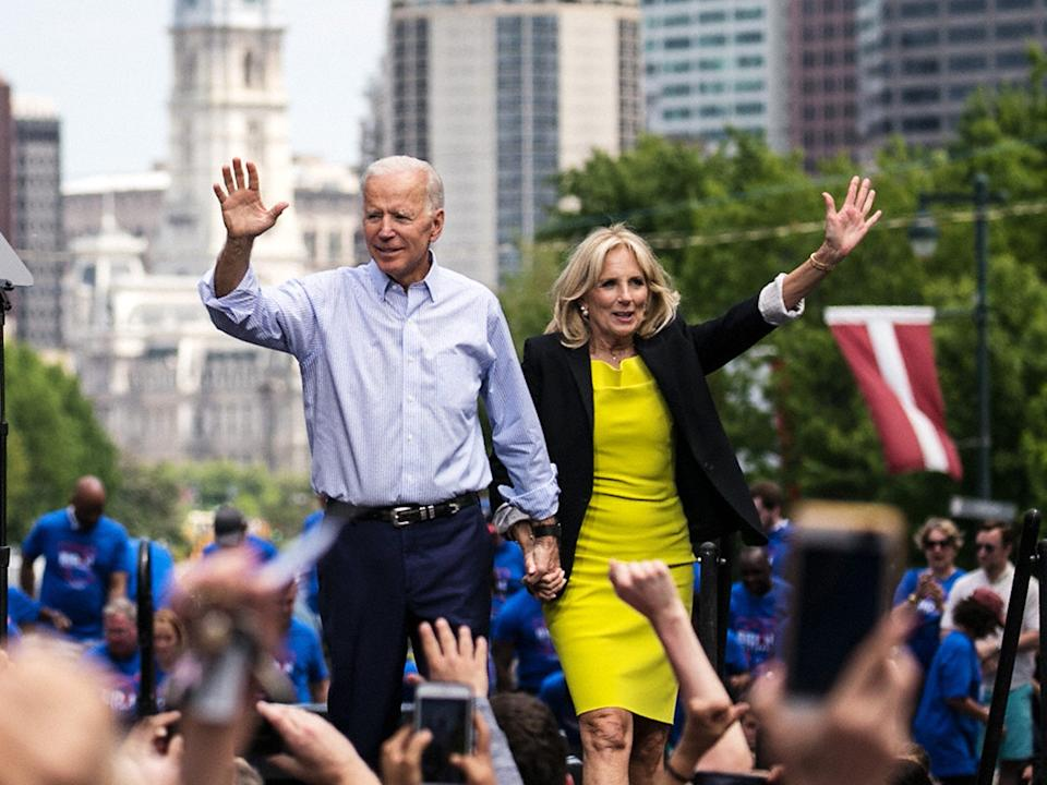 PHILADELPHIA, PA - MAY 18: (CHINA OUT, SOUTH KOREA OUT) Democratic presidential candidate, former U.S. Vice President Joe Biden and his wide Jill Biden wave during a campaign kickoff rally on May 18, 2019 on Philadelphia, Pennsylvania. Since Biden announced his candidacy in late April, he has taken the top spot in all polls of the sprawling Democratic primary field. Biden's rally on Saturday was his first large-scale campaign rally after doing smaller events in Iowa and New Hampshire in the past few weeks. (Photo by The Asahi Shimbun via Getty Images)