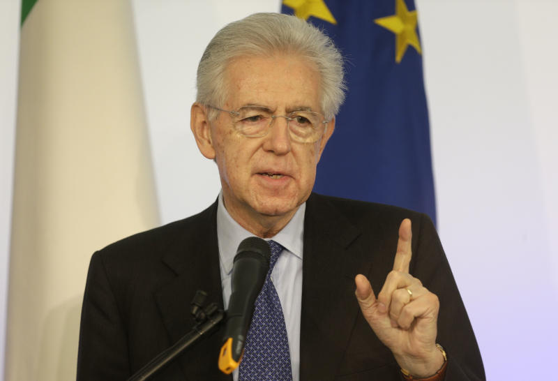 "Italian Premier Mario Monti gestures as he speaks during a news conference in Rome, Sunday, Dec. 23, 2012. Italy's caretaker Premier Mario Monti said Sunday he won't run in February elections, but if political parties that back his anti-crisis agenda ask him to head the next government he would consider the offer. Monti ruled out heading any ticket himself, saying ""I have no sympathy for 'personal' parties."" At a news conference, Monti made clear he was spurning an offer from his predecessor Silvio Berlusconi to run on a center-right election ticket backed by the media mogul, citing Berlusconi's heavy criticism of his economic policies. (AP Photo/Alessandra Tarantino)"