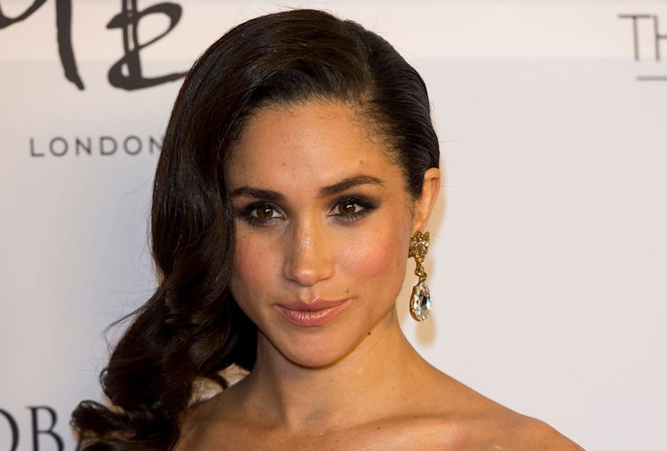 LONDON, ENGLAND - NOVEMBER 19:  Meghan Markle attends the London Global Gift Gala at ME Hotel on November 19, 2013 in London, England.  (Photo by Mark Cuthbert/UK Press via Getty Images)