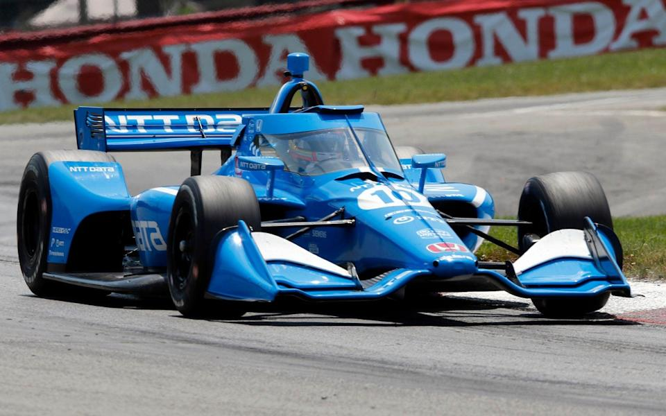 Alex Palou competes during an IndyCar race at Mid-Ohio Sports Car Course in Lexington, Ohio, in this Sunday, July 4, 2021, file photo. Only 62 points separate Palou and four other drivers with four races remaining and Palou was dealt his third pre-race penalty before he even arrived at Gateway. Honda has pulled the engine from Palou's car for a third time this season — twice this month — before a change was permitted under IndyCar rules - AP Photo/Tom E. Puskar, File