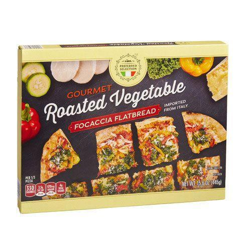 <p>If you're feeling like a pizza but keeping it light, go with Lidl's line of focaccia flatbreads. This one is loaded with veggies and works as an appetizer or as a meal on its own.</p>