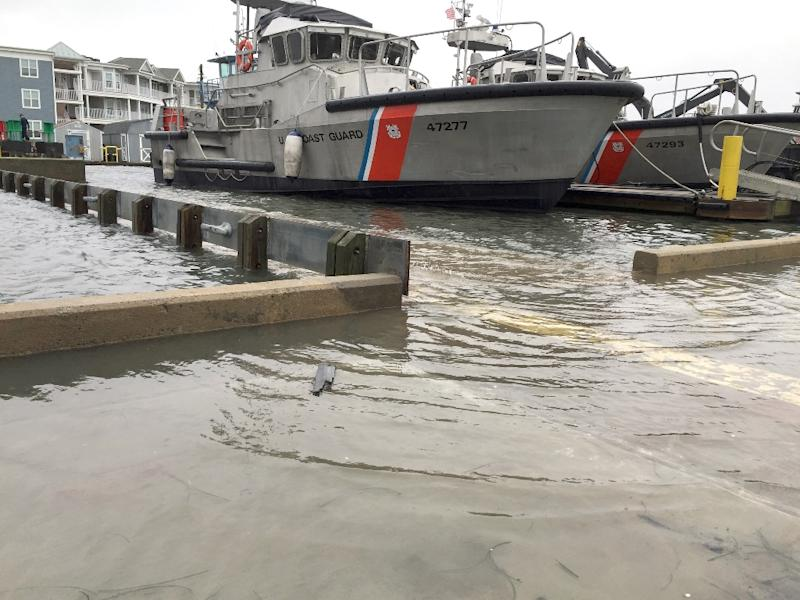 This US Coast Guard photo released October 2, 2015 shows flooding at Station Chincoteague on October 1, 2015, in Chincoteague, Virginia (AFP Photo/Lt. Cmdr. Justin Strock)