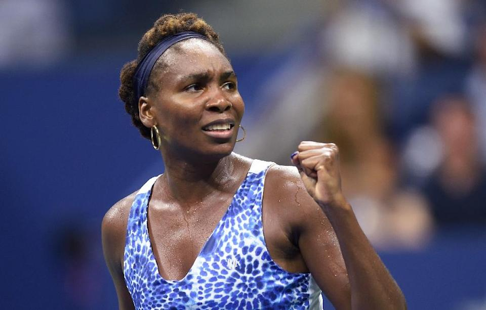 Venus Williams celebrates her victory over Irina Falconi at the end of their US Open match at the USTA Billie Jean King National Center September 2, 2015 in New York (AFP Photo/Don Emmert)