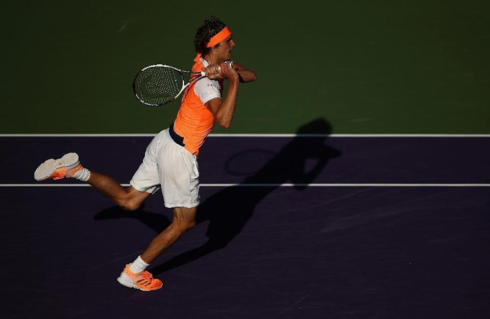 Alexander Zverev of Germany, seen in action during his Miami Open 3rd round match against John Isner of the US, at Crandon Park Tennis Center in Key Biscayne, Florida, on March 27, 2017 (AFP Photo/Julian Finney)