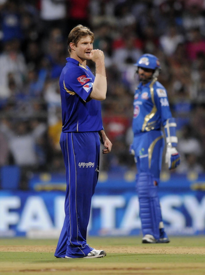 Shane Watson of Rajasthan Royals celebrates the wicket of Ambati Rayudu of Mumbai Indians during match 66 of the Pepsi Indian Premier League ( IPL) 2013  between The Mumbai Indians and the Rajasthan Royals held at the Wankhede Stadium in Mumbai on the 15th May 2013 ..Photo by Pal Pillai-IPL-SPORTZPICS ..Use of this image is subject to the terms and conditions as outlined by the BCCI. These terms can be found by following this link:..https://ec.yimg.com/ec?url=http%3a%2f%2fwww.sportzpics.co.za%2fimage%2fI0000SoRagM2cIEc&t=1506275268&sig=k5CR8L8QNMCaonk9PmH8hQ--~D