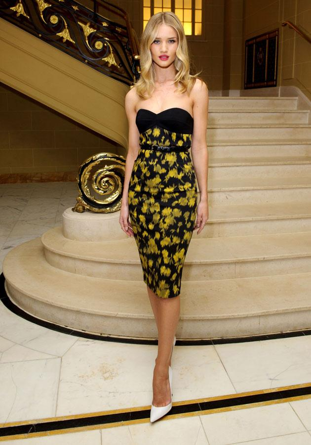 """<b>Rosie Huntington-Whiteley </b><br><br>The Transformers actress worked the <a target=""""_blank"""" href=""""http://uk.lifestyle.yahoo.com/rosie-huntington-whiteley-michael-kors-vogue-fashion-designer-091538604.html"""">floral </a>trend in Michael Kors dress at a <a target=""""_blank"""" href=""""http://uk.lifestyle.yahoo.com/rosie-huntington-whiteley-michael-kors-vogue-fashion-designer-091538604.html"""">Vogue dinner</a> in London.<br><br>[Rex]"""
