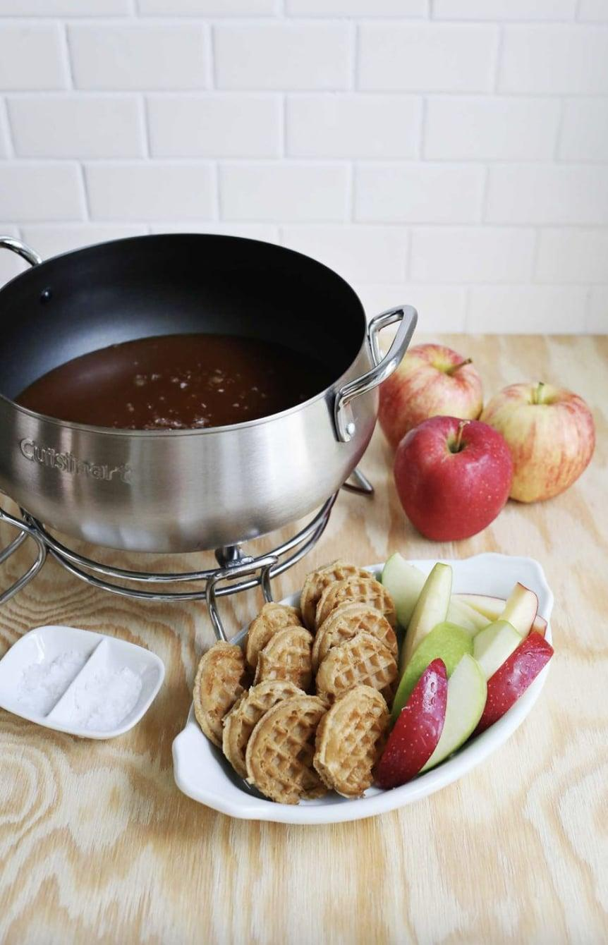 "<p>Rich, salty, and perfecly sweet, this caramel fondue will wake up your taste buds like never before. The best part is, if you pair it with apple slices, each bite will taste like a caramel apple. Yes, please!</p> <p><strong>Get the recipe</strong>: <a href=""https://abeautifulmess.com/salted-caramel-fondue/"" class=""link rapid-noclick-resp"" rel=""nofollow noopener"" target=""_blank"" data-ylk=""slk:salted caramel fondue"">salted caramel fondue</a></p>"