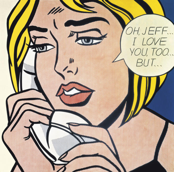 """This undated photo provided by The Art Institute of Chicago shows the painting """"Oh, Jeff...I Love You, Too...But…"""" by the late pop artist Roy Lichtenstein. The artwork will be part of the exhibit """"Roy Lichtenstein: A Retrospective,"""" which runs through Sept. 3, 2012 before traveling to Washington, London and Paris. (AP Photo/Courtesy the Estate of Roy Lichtenstein via The Art Institute of Chicago)"""
