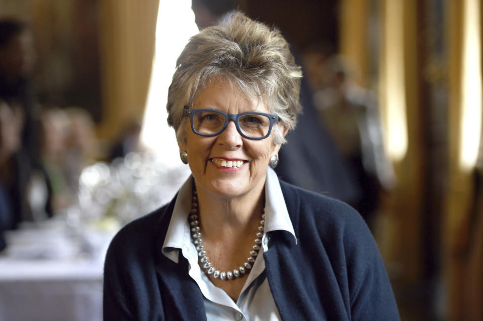 FILE- This is a February, 14, 2017 file photo of Prue Leith, who has appeared to accidentally reveal the winner of this year's Great British Bake Off.  A judge on the Great British Bake Off, a widely watched television cooking competition in the U.K., has been forced to apologize after revealing the winner hours before the final episode was scheduled to air, it was reported Tuesday, Oct. 31, 2017. (Kirsty O'Connor/PA via AP, File)