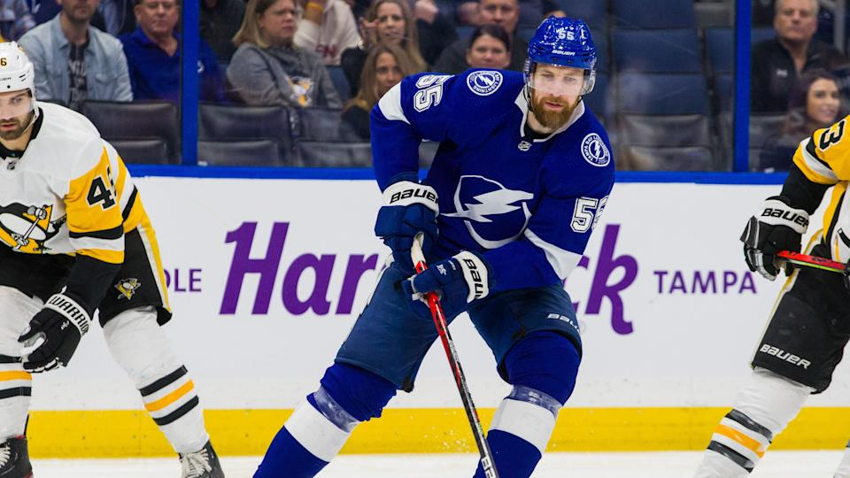 TAMPA, FL - FEBRUARY 6: Braydon Coburn #55 of the Tampa Bay Lightning skates against the Pittsburgh Penguins during the first period at Amalie Arena on February 6, 2020 in Tampa, Florida. (Photo by Scott Audette /NHLI via Getty Images)