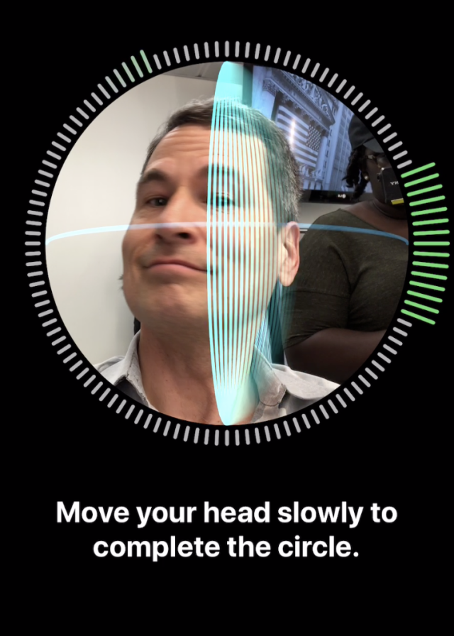 You train Face ID by letting it scan your head twice.