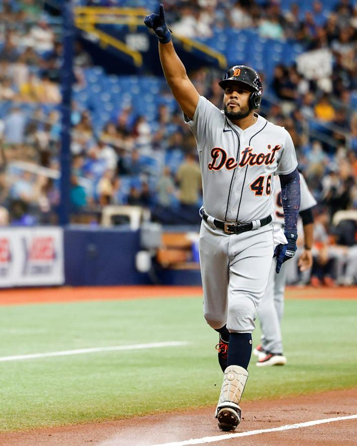 Jeimer Candelario #46 of the Detroit Tigers reacts after hitting a three-run home run during the first inning against the Tampa Bay Rays at Tropicana Field on Sept. 18, 2021 in St Petersburg, Florida.
