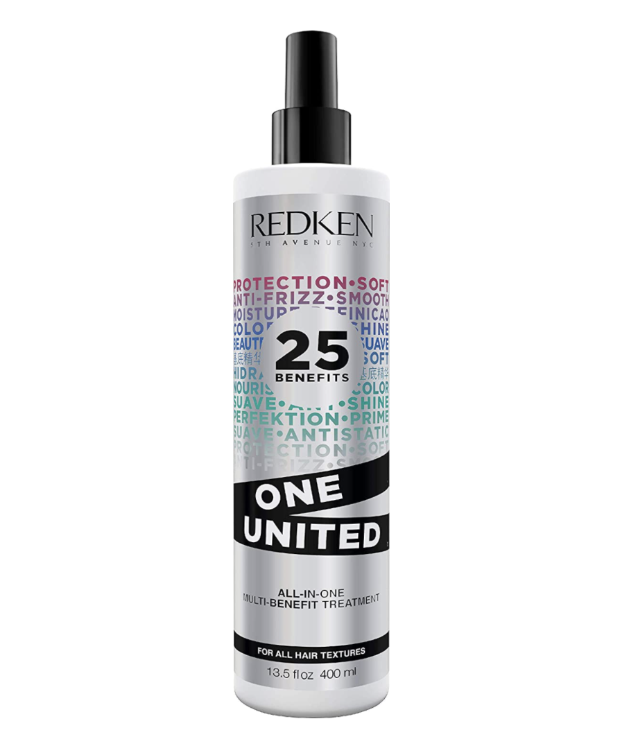 black and rainbow text bottle of Redken One United All-in-One Multi Benefit Treatment (Photo via Amazon)
