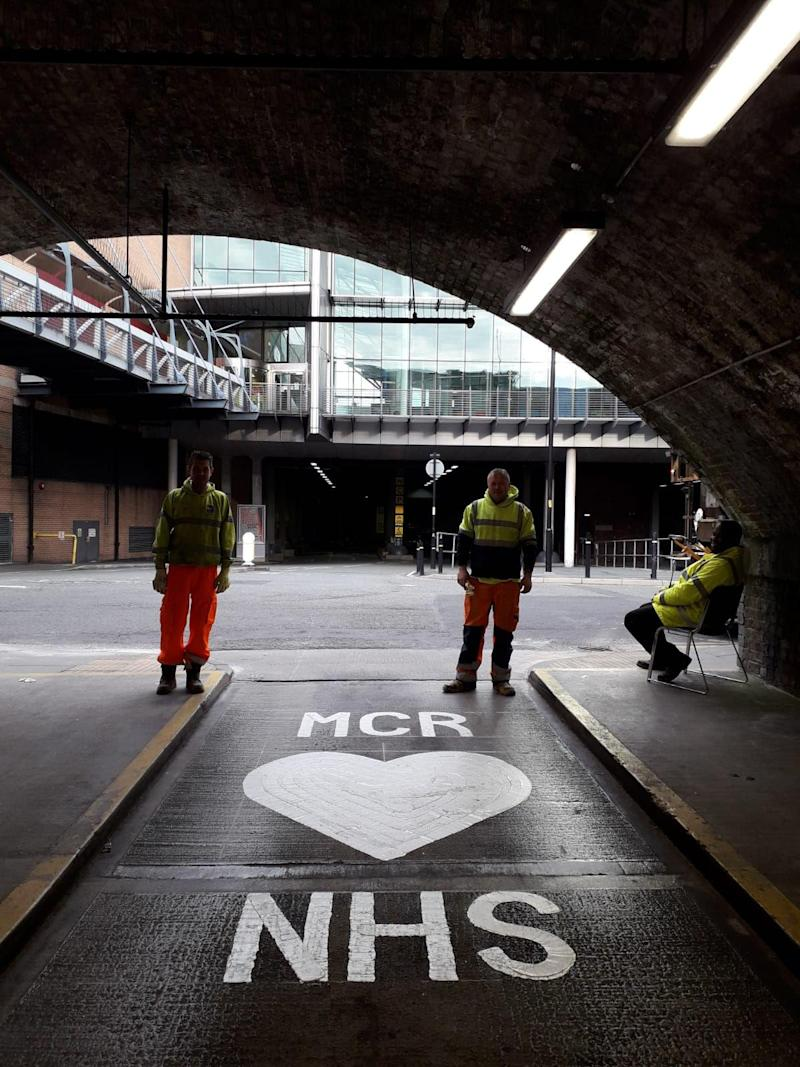 Road markings that have been painted onto roads near the Nightingale Hospital North West in Manchester (PA)