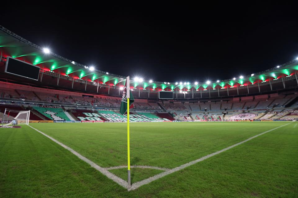 RIO DE JANEIRO, BRAZIL - MAY 12: General view of the stadium prior to a match between Fluminense and Santa Fe as part of group D of Copa CONMEBOL Libertadores 2021 at Maracana Stadium on May 12, 2021 in Rio de Janeiro, Brazil. (Photo by Sergio Moraes-Pool/Getty Images)
