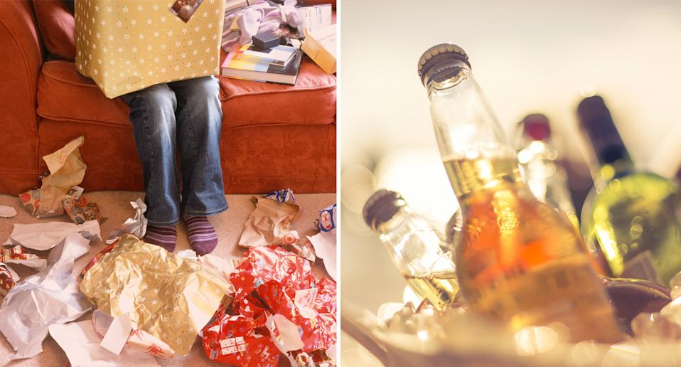 Pictured left is discarded Christmas wrapping paper and on the right is a bucket of alcoholic beverages.