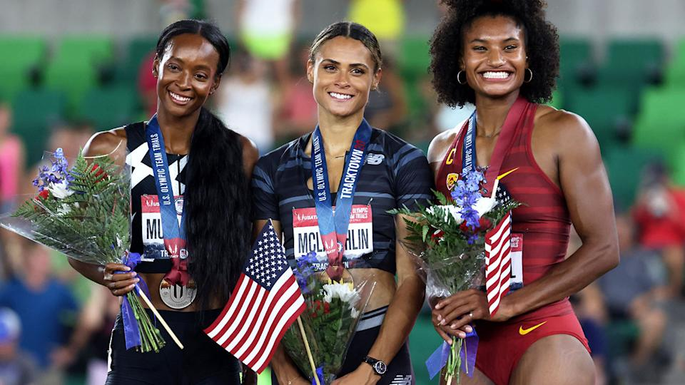 Dalilah Muhammad, Sydney McLaughlin and Anna Cockrell, pictured here after the 400m hurdles final.