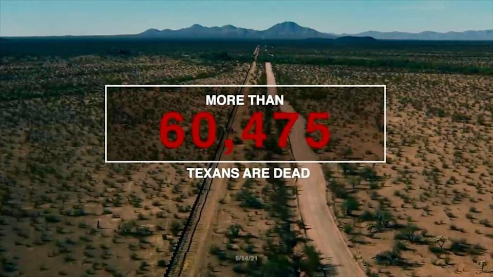 The Lincoln Project ad includes a grim counter tallying Texas' COVID-19 cases and deaths.
