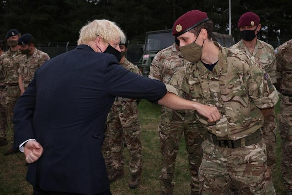 Prime Minister Boris Johnson meets members of 16 Air Assault Brigade at the Brigade Headquarters at Merville Barracks in Colchester (Dan Kitwood/PA) (PA Wire)