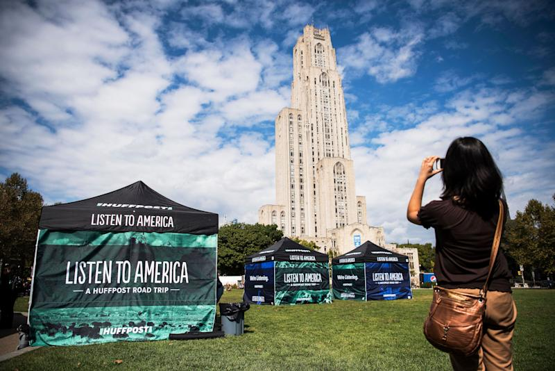 Marina Fang takes a photo of the Cathedral of Learning building.