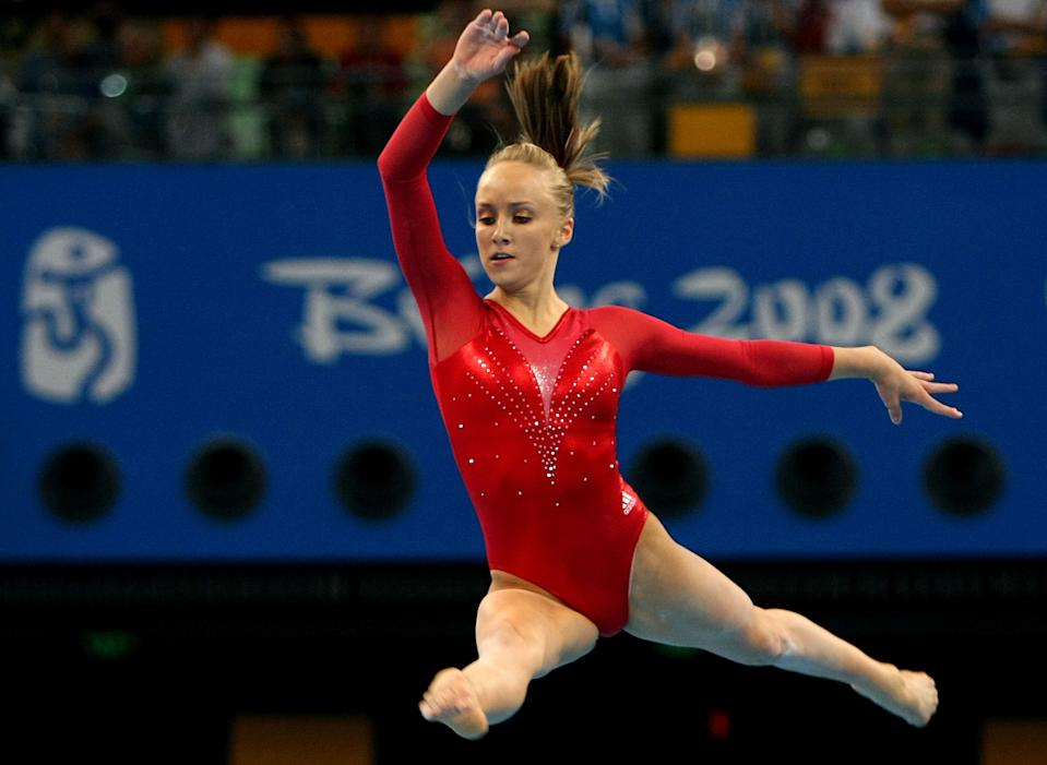 BEIJING - AUGUST 17: Nastia Liukin of the United States competes in the women's individual floor final in the artistic gymnastics event held in National Indoor Stadium on Day 9 of the Beijing 2008 Olympic Games on August 17, 2008 in Beijing, China. Liukin went on to win the bronze medal. (Photo by Jed Jacobsohn/Getty Images)