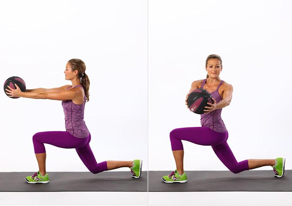 <p>This lunge variation works the entire body, and adding the twist ensures that your abs get a little extra attention.</p> <ul> <li>Stand with your feet hip-distance apart. Hold a five- to 10-pound medicine ball in both hands with your arms outstretched in front of you.</li> <li>Keep your core stable, and take a large step back with your right foot, then lowering your body until both legs are bent at 90-degree angles.</li> <li>As you sink into the lunge, twist your torso to the left.</li> <li>Bring your torso back to center with your arms straight, and exhale as you straighten your legs. Bring your feet back together, and then step back on your left leg, twisting to the right.</li> <li>This completes one rep.</li> </ul>