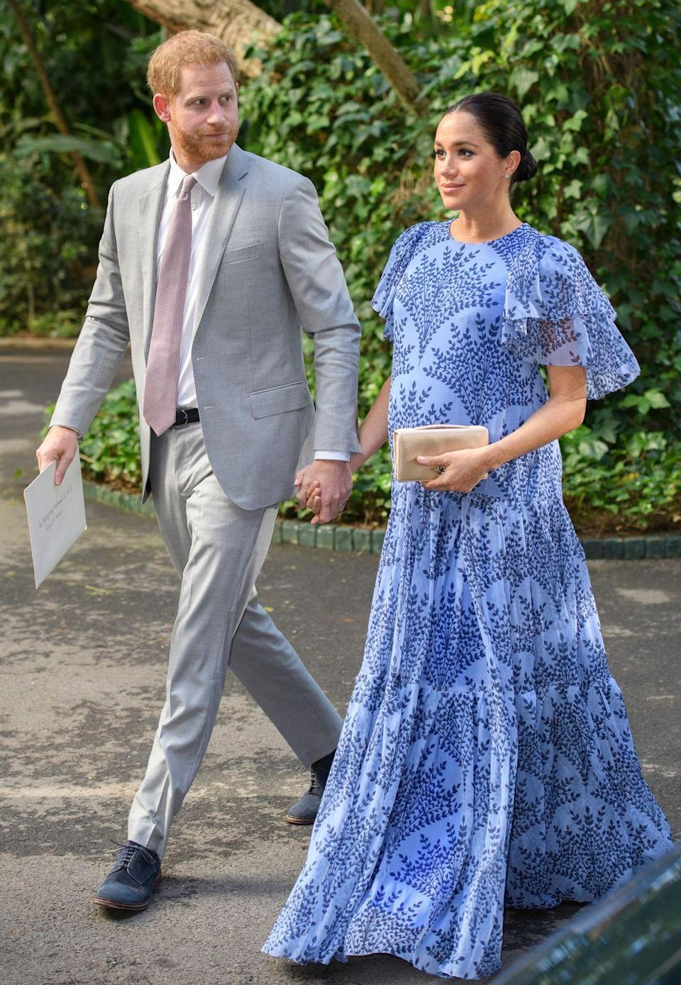 """<p>For her final engagement in Morocco, Meghan wore a <a href=""""https://go.redirectingat.com?id=74968X1596630&url=https%3A%2F%2Fwww.modaoperandi.com%2Fcarolina-herrera-fw19%2Ffloral-printed-silk-chiffon-short-sleeve-gown%3Fmid%3D37385%26siteID%3DTnL5HPStwNw-GHPwCiOCcKATKWaoYP.rXQ&sref=https%3A%2F%2Fwww.townandcountrymag.com%2Fstyle%2Ffashion-trends%2Fg3272%2Fmeghan-markle-preppy-style%2F"""" rel=""""nofollow noopener"""" target=""""_blank"""" data-ylk=""""slk:blue printed Carolina Herrera gown"""" class=""""link rapid-noclick-resp"""">blue printed Carolina Herrera gown</a> to meet King Mohammed VI. The duchess pulled her hair back in a bun, carried the nude satin <a href=""""https://go.redirectingat.com?id=74968X1596630&url=https%3A%2F%2Fus.vestiairecollective.com%2Fwomen-bags%2Fdior%2Fd-bee%2F&sref=https%3A%2F%2Fwww.townandcountrymag.com%2Fstyle%2Ffashion-trends%2Fg3272%2Fmeghan-markle-preppy-style%2F"""" rel=""""nofollow noopener"""" target=""""_blank"""" data-ylk=""""slk:D-bee Dior clutch"""" class=""""link rapid-noclick-resp"""">D-bee Dior clutch</a> from the <a href=""""https://www.townandcountrymag.com/style/fashion-trends/a26496908/meghan-markle-cream-bespoke-dior-dress-morocco-photos/"""" rel=""""nofollow noopener"""" target=""""_blank"""" data-ylk=""""slk:previous night"""" class=""""link rapid-noclick-resp"""">previous night</a>. </p>"""