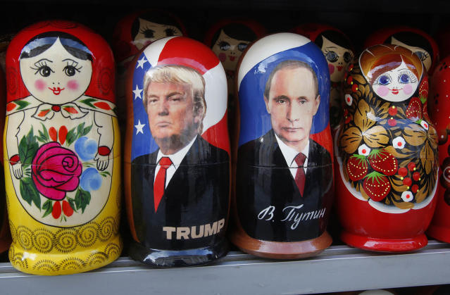 <p>Traditional Russian wooden dolls called Matryoshka depicting Russian President Vladimir Putin and Donald Trump, hours before his inauguration, are displayed for sale at a street souvenir shop in St. Petersburg, Russia, Jan. 20, 2017. (Photo: Dmitri Lovetsky/AP) </p>