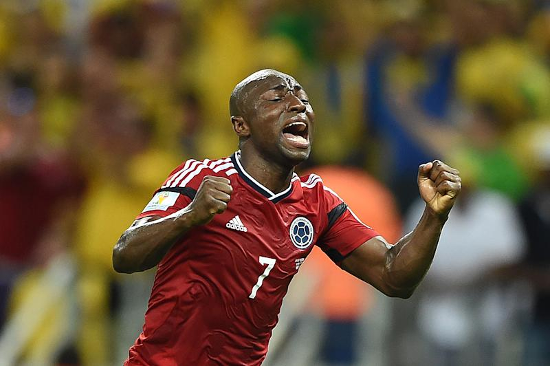 Colombia full-back Pablo Armero pictured during his side's World Cup quarter-final against Brazil at the Castelao Stadium in Fortaleza, northern Brazil on July 4, 2014