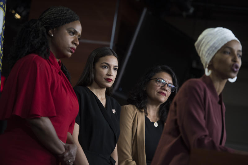 From left, Reps. Ayanna Pressley, D-Mass., Alexandria Ocasio-Cortez, D-N.Y., Rashida Tlaib, D-Mass., and Ilhan Omar, D-Minn., conduct a news conference in the Capitol Visitor Center responding to negative comments by President Trump that were directed the freshmen House Democrats on Monday, July 15, 2019. (Photo: Tom Williams/CQ Roll Call/Getty Images)